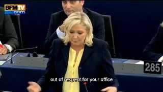 Marine Le Pen Merkel and Hollande at the European Parliament