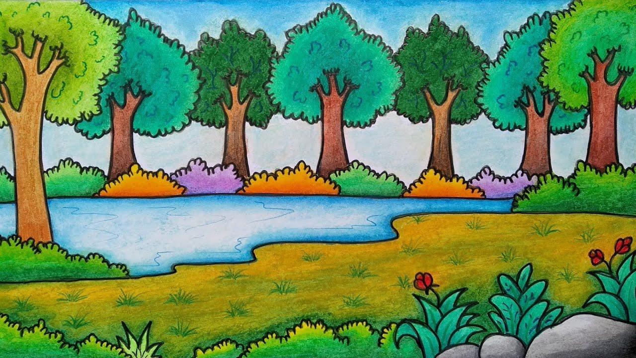 Cara Menggambar Pemandangan Hutan Belajar Menggambar Dan Mewarnai Pemandangan Alam Youtube