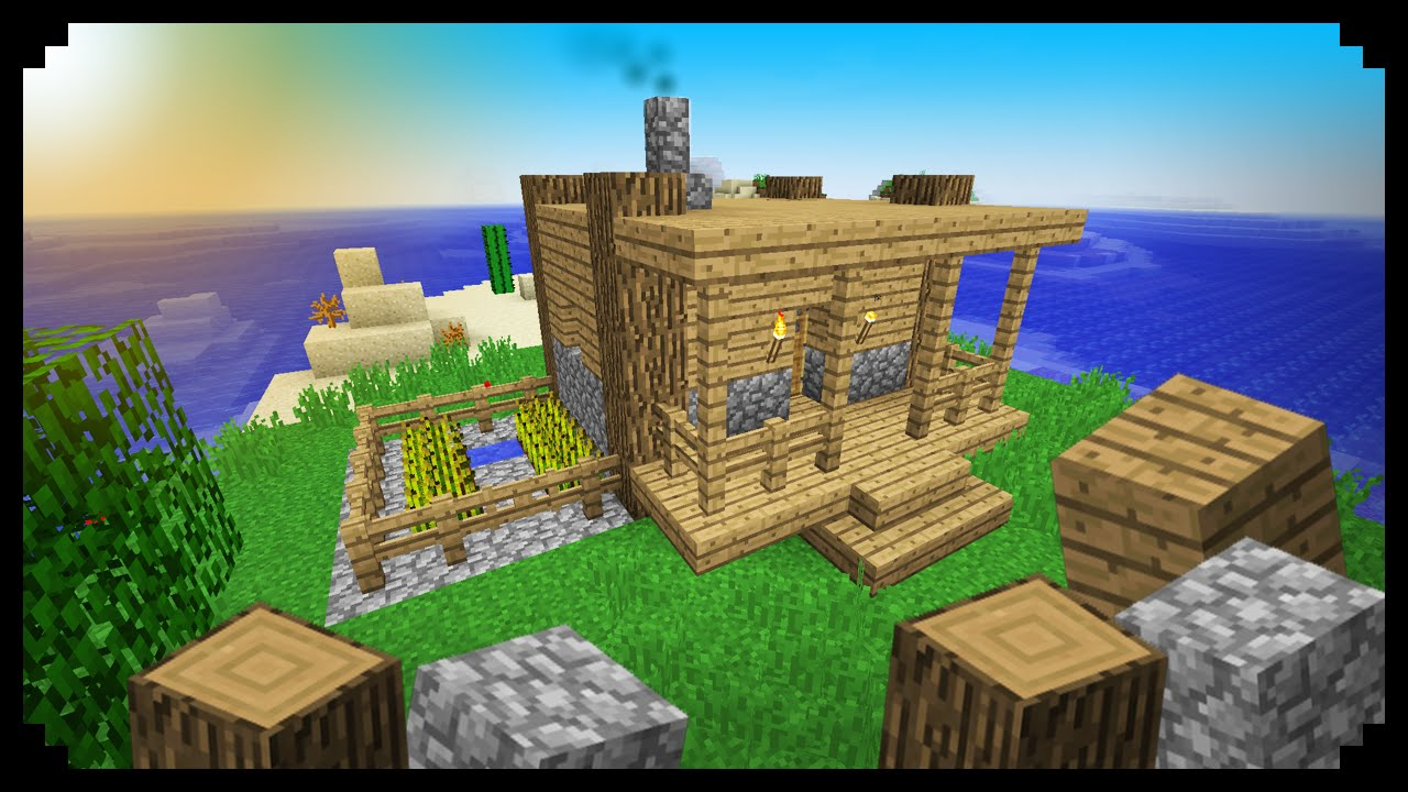 Minecraft How To Make A Starter House Wood And Cobblestone Youtube