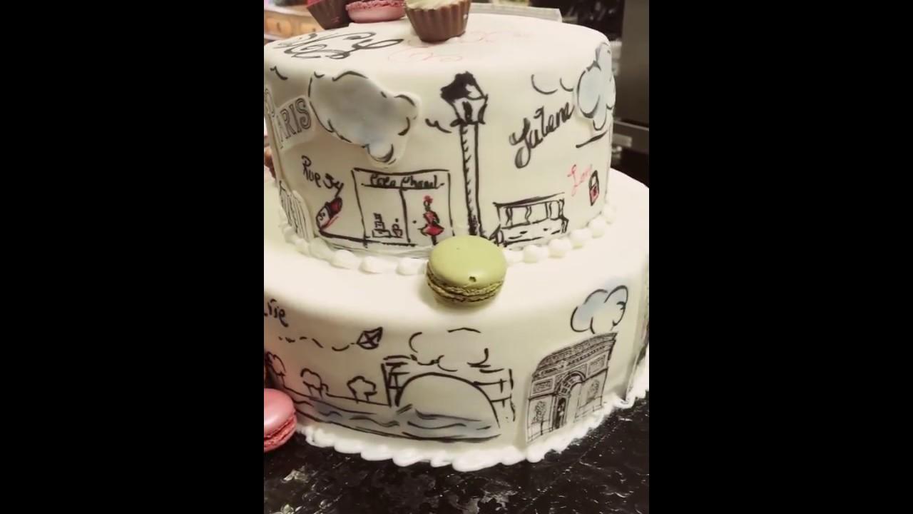 Paris Theme Birthday Cake Youtube