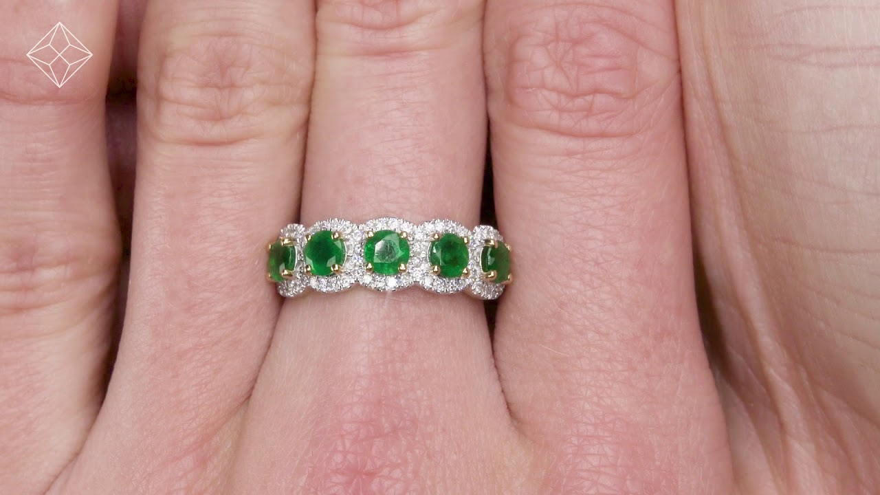 Emerald and Diamond Halo 5 Stone Asteria Ring in 18K Gold - FT87-G ...