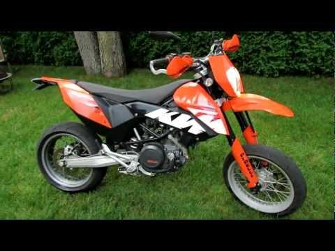 2009 KTM 690 SMC Supermoto Motorcycle - Akrapovic Exhaust Sound and Walk Around