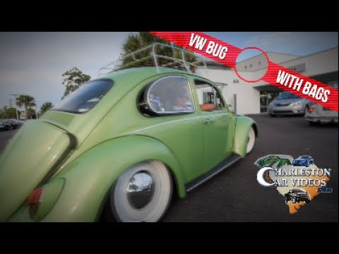 Friday Night Parking Lot Party   Old School Cars - Bugs with Bags & Volkswagen Buses   CAR VLOG