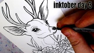 Drawing a Traditional Tattoo Flash Style Deer | INKTOBER 2016 Day 3 |