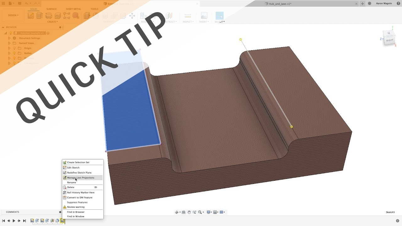 QUICK TIP: Fix Lost Sketch Projections