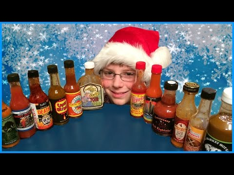12-yr-old eats 12 Hot Sauces (12 Days Of Christmas/Hot Sauce Challenge) : Crude Brothers