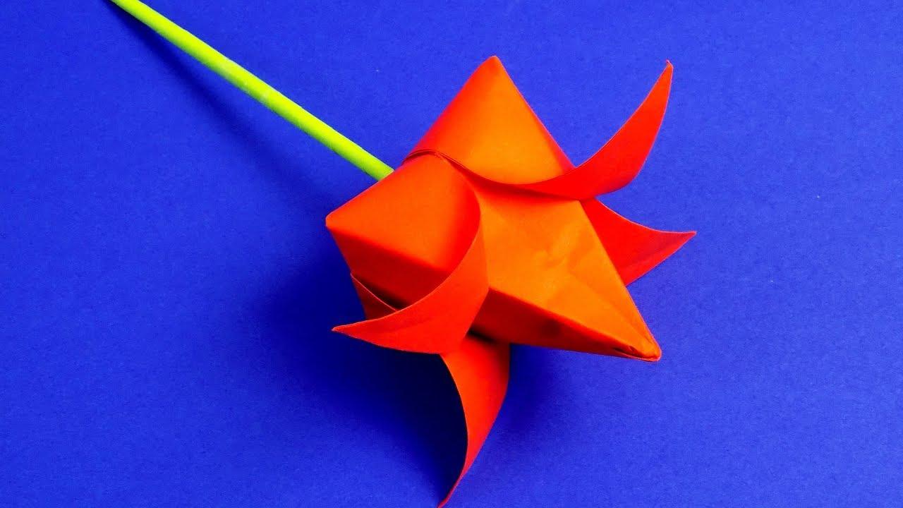 Как сделать оригами из бумаги тюльпан видео фото 294