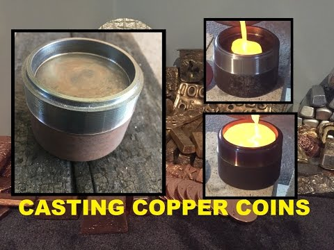 MELTING COPPER CASTING COPPER COINS WITH HOMEMADE STEEL MOLD