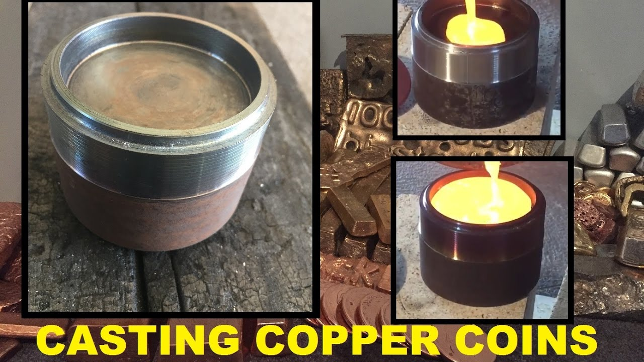 COPPER COINS WITH HOMEMADE STEEL MOLD
