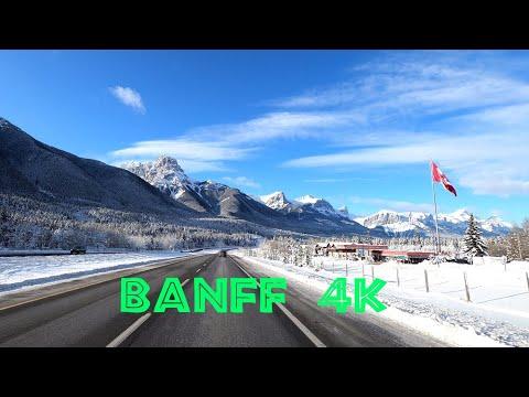 Banff 4K - Driving in winter, Alberta, Canada