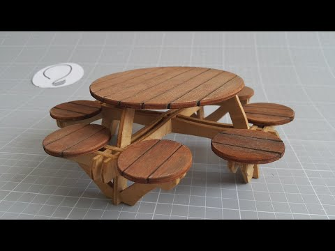 Round Picnic Table - Miniature Furniture