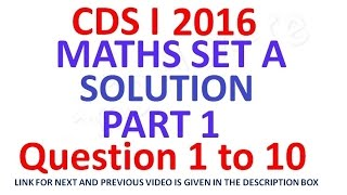 cds 1 2016 maths full paper solution part 1