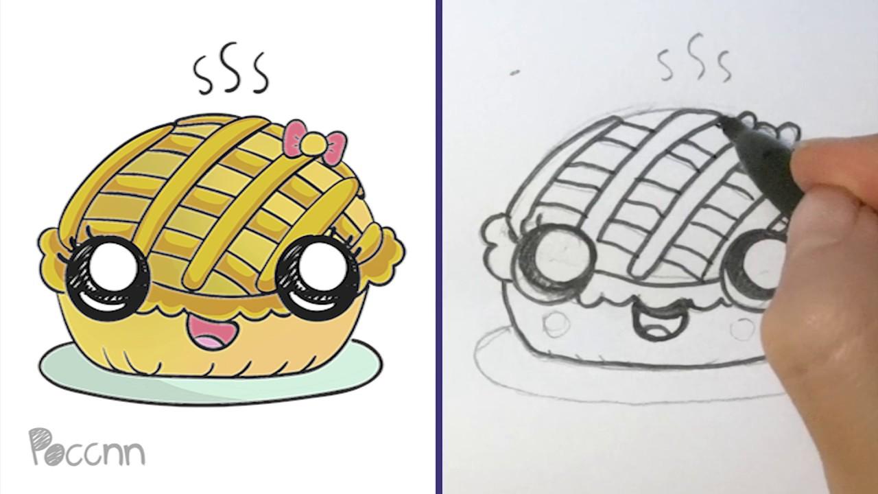 Cómo Dibujar Un Pay De Manzana Kawaii