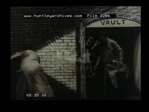 Men rob a bank, 1900's. Archive film 2286