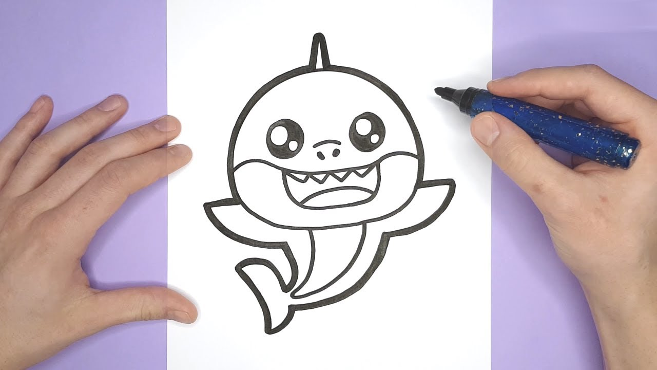 PINKFONG DRAWING - How to draw a cute Baby shark - YouTube