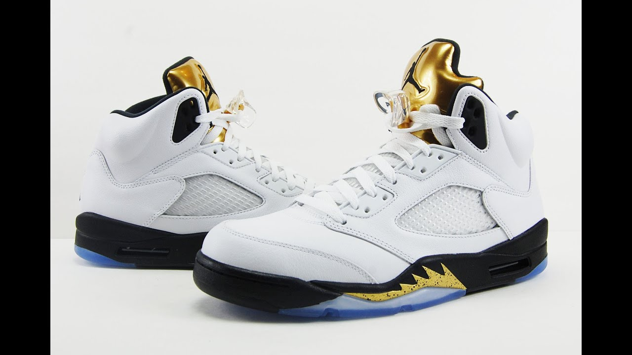 retro 5 jordans men gold