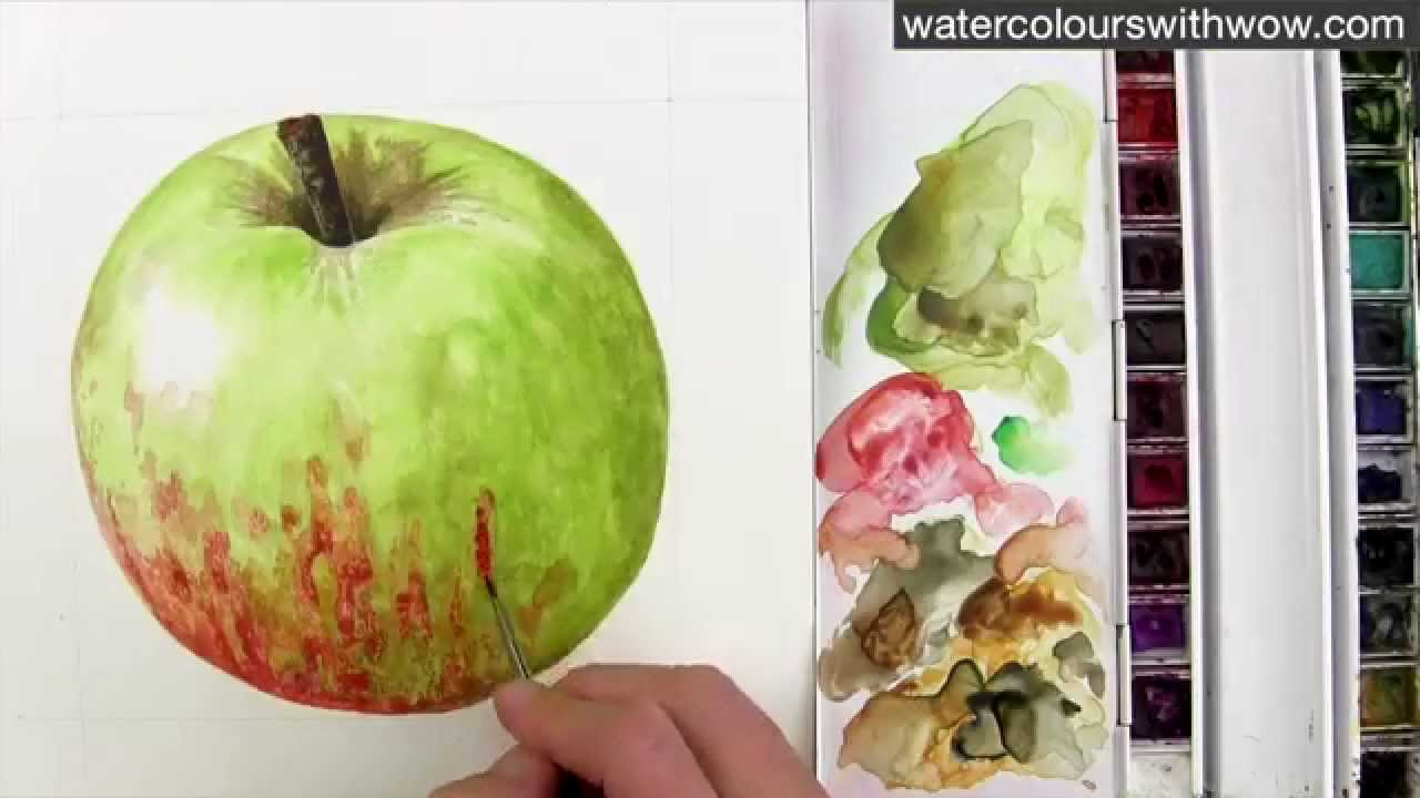 Red Apple With Green Leaf Painting
