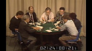 Noam Chomsky interviewed by Canadian journalists at round table, 1988.