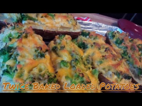 Broccoli and Cheddar Twice Baked LOADED Potatoes Recipe