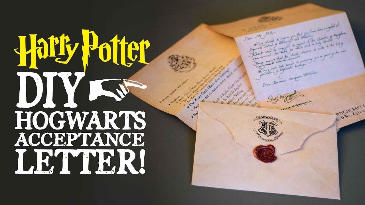 hogwarts acceptance letter harry potter diy