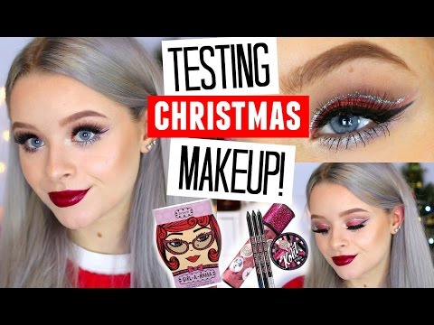 TESTING CHRISTMAS MAKEUP SETS!! Collab with Just Jodes! | sophdoesnails