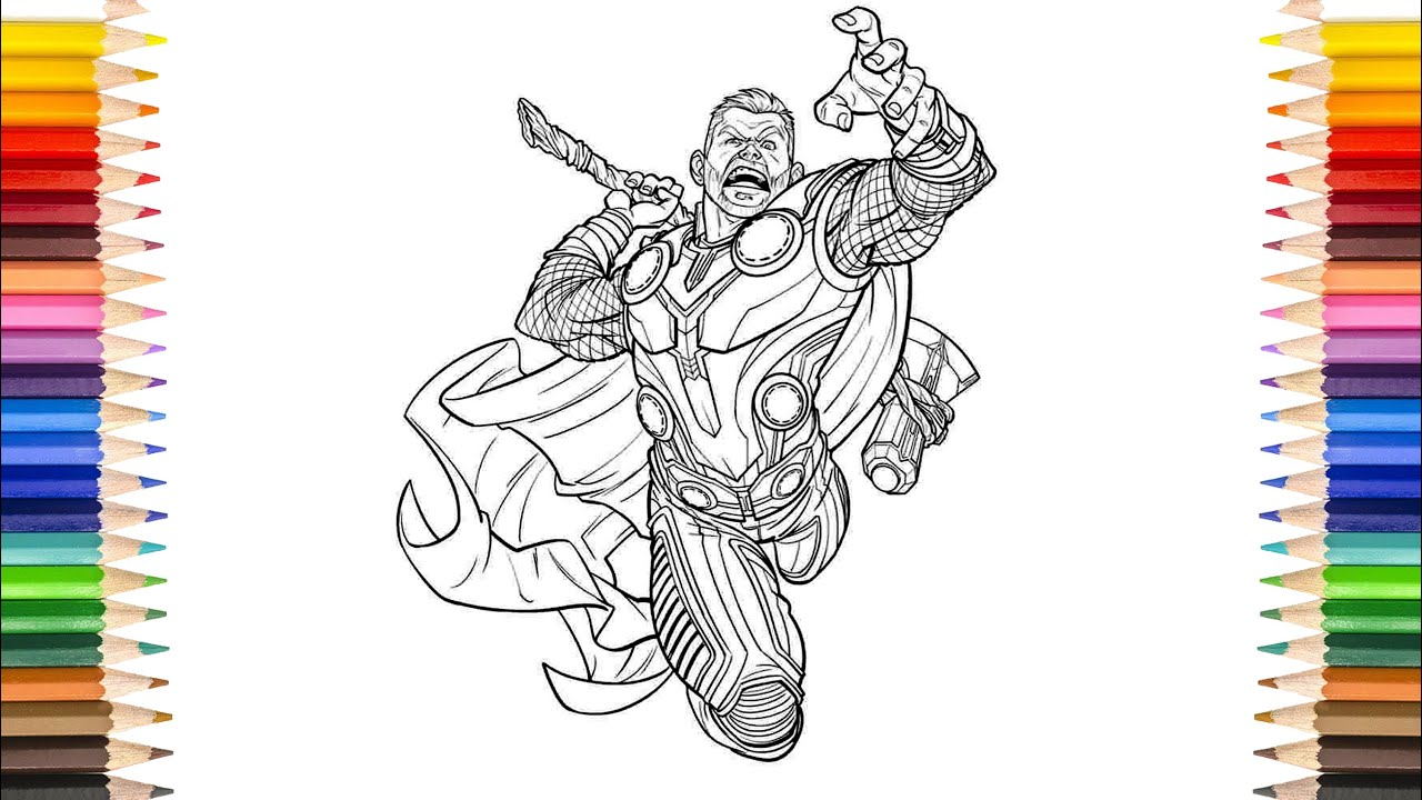 THOR Ragnarok Coloring Pages  Short Hair The God Of THUNDER Thor Coloring  Pages