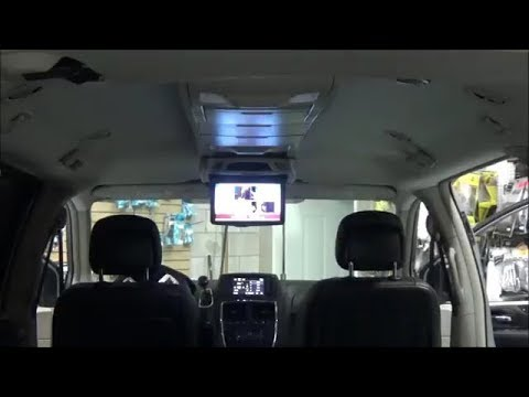 Roof Mount Dvd Dodge Caravan With Ceiling Console Youtube