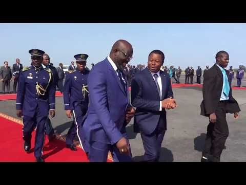 President Weah's arrival to Lome, Togo to attend the Extraordinary ECOWAS Summit