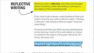 This video and associated document explains what reflective writing is (also called a reflection), along with visual examples short assessment!...