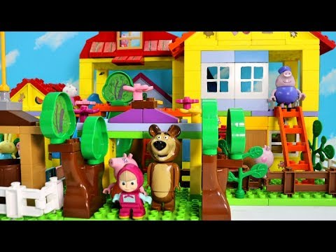 Thumbnail: How To Build Peppa Pig Blocks Mega House Construction Lego Sets With Masha and the Bear Toys For Kid