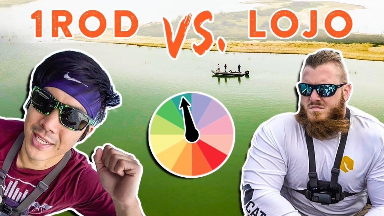 1rod1reel Vs Lojo Fishing Roulette Wheel Bass Fishing Challenge Mystery Tackle Box Youtube