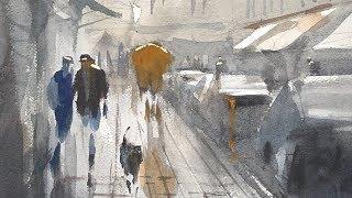 """Advancing with Watercolor: Edges """"Place des Vosges"""""""