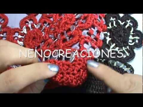 4 de 8 como tejer bolsa de flores con arillos y ganchillo - Como hacer flores de ganchillo ...