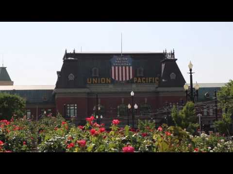 HD Union Pacific Train Station Royalty Free Stock Footage