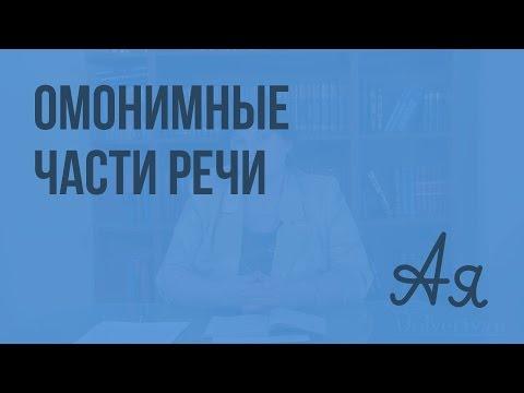 Омонимичные части речи. Видеоурок по русскому языку 9 класс