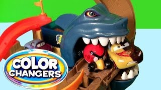 Cars Color Changers Sharkport Showdown Track Shark Attack Micro Drifters Disney Pixar HW Shifters
