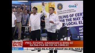 UB: Pres. Duterte, sinamahan si Bong Go sa pag-file ng COC sa Comelec