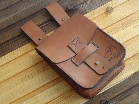 Уроки работы с кожей Сумка на пояс 2 Making leather pouch