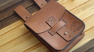 Уроки работы с кожей. Сумка на пояс №2. Making leather pouch