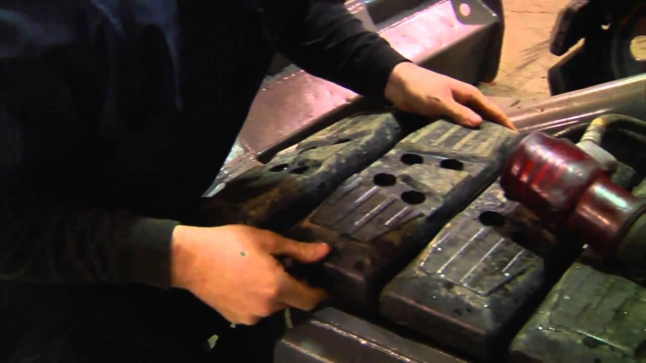 Replacing Mini Excavator Rubber Track Pad Bobcat Asv Jcb