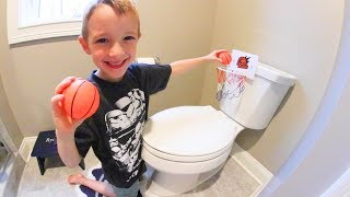 FATHER SON BATHROOM BASKETBALL! / Trick Shots!