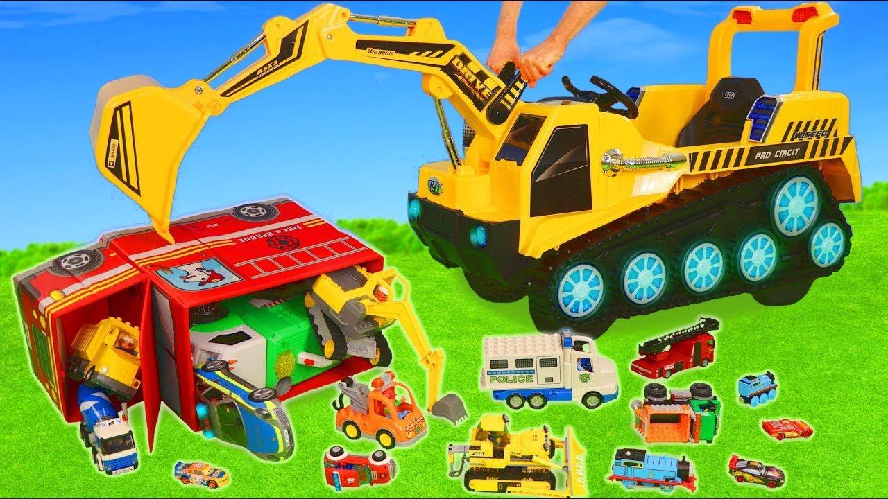 Excavator Fire Truck Trains Garbage Trucks Police Cars