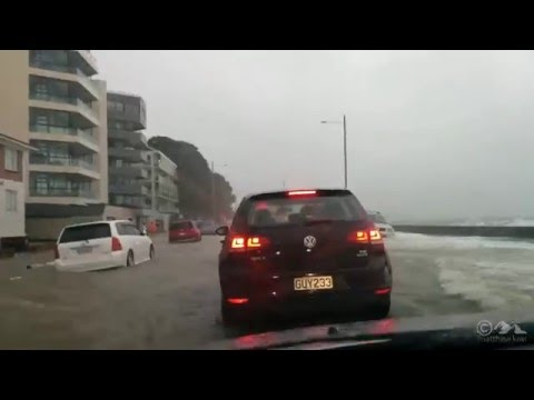 Crazy flooding along Tamaki Drive, Auckland, New Zealand