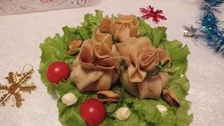 Новогодние рецепты Фаршированные блины с мясом и грибами