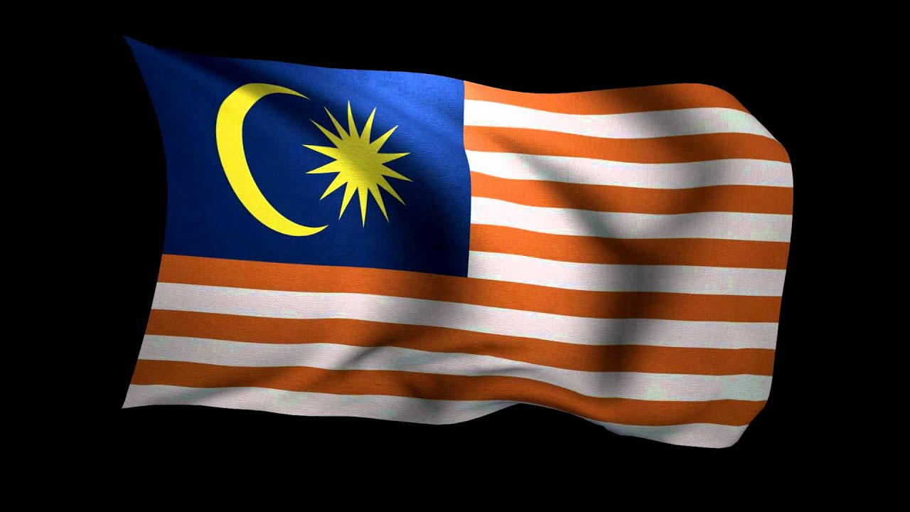 3D Rendering of the flag of Malaysia waving in the wind HD
