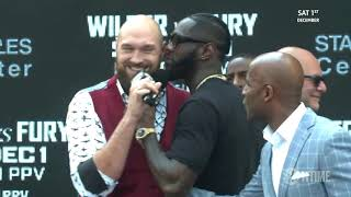Tyson Fury is too much! Both boxers kicked off stage in New York | Wilder v Fury