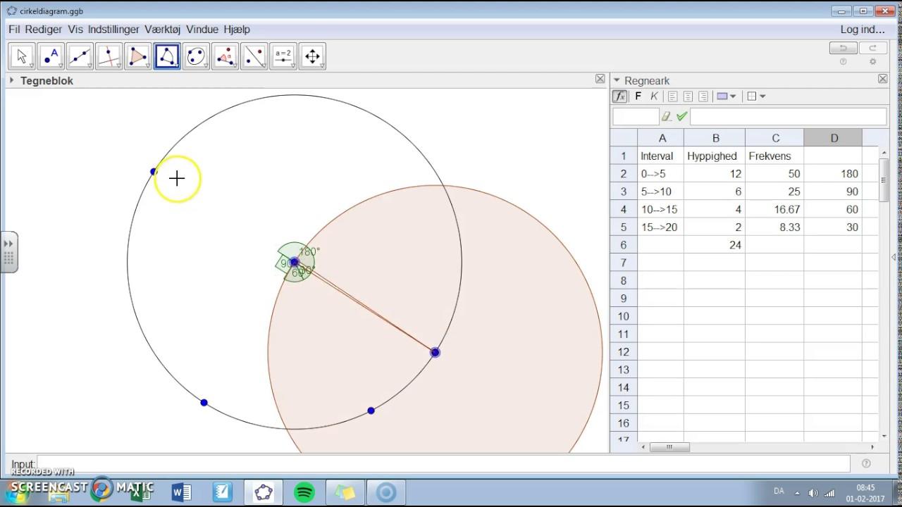 Hvordan laver man et cirkeldiagram i geogebra