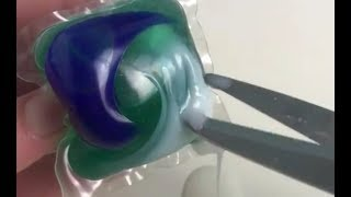 Cutting Open Tide pods - WARNING DO NOT EAT! Satisfying ASMR and visuals