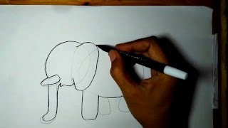 Easy Drawing for Kids: An Elephant (Gajah)