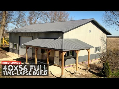40x56 Large Garage Full Time-Lapse With Wrap Around Porch
